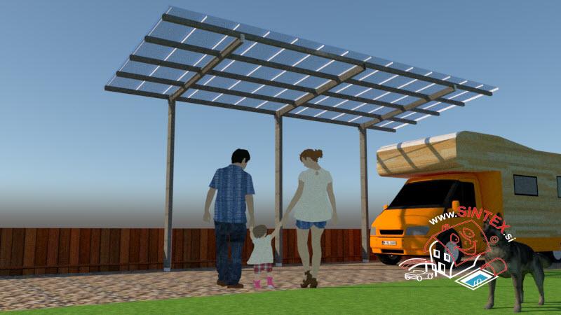 Oglas cena in dimenzije nadstreška Caport Sintex Basic 1 za dva avtomobila in dimenzije temeljev