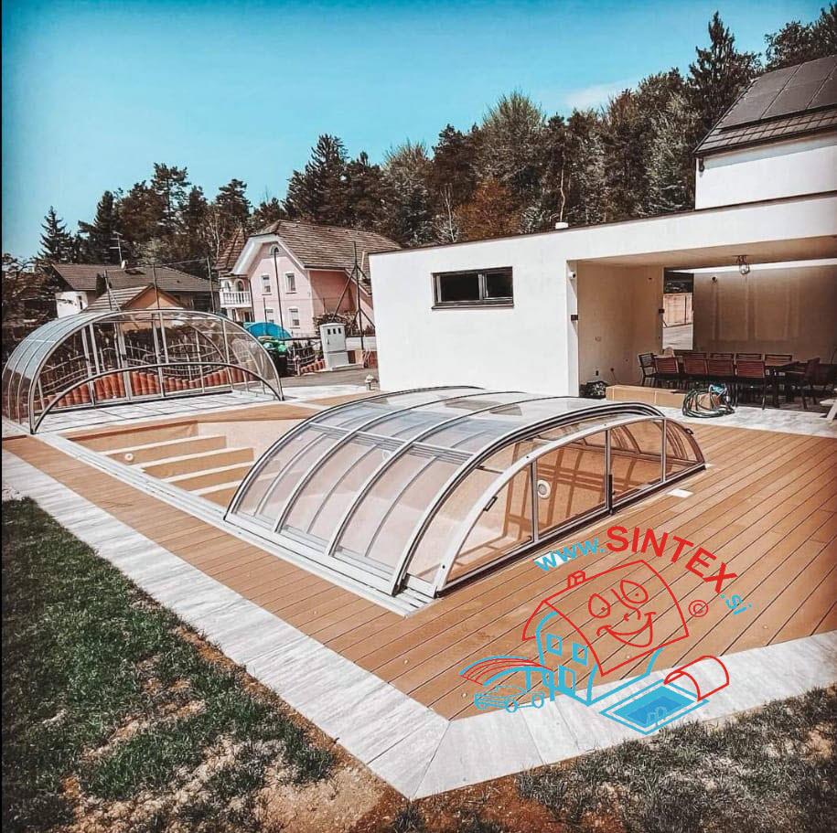 Montaža strehe za bazen / bazenskega nadkritja direktno na rob bazena